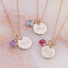 I've just found Esme Personalised Initial Birthstone Necklace. The Esme Personalised Initial Birthstone Necklace is a beautiful silver or rose gold chain and disc, personalised with a gorgeous name of your choice. Sterling Necklaces, Jewelry Necklaces, Initial Necklaces, Jewelry Shop, Initial Jewelry, Unique Necklaces, Jewelry Findings, Jewelry Stores, Birthstone Necklace