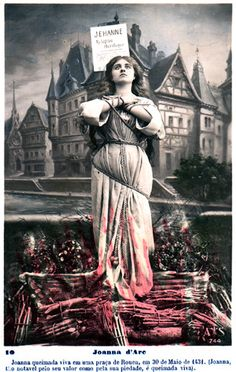 19th Century Postcard showing Joan of Arc burning at the stake in Rouen on May 30, 1431.