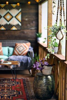 hanging planters along the porch