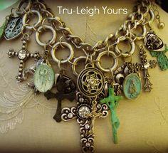Ave Maria ... Vintage, Gypsy, Boho, Spiritual, Crystal, Rhinestone Assemblage... Necklace. $99.00, via Etsy.