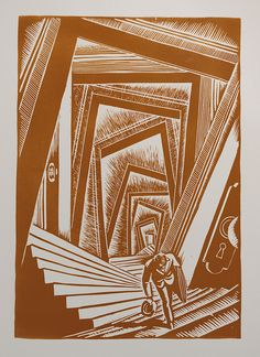 A linocut from Giacomo Patri's 1940 wordless novel depicting the hard times of an artist during the Great Depression titled White Collar.