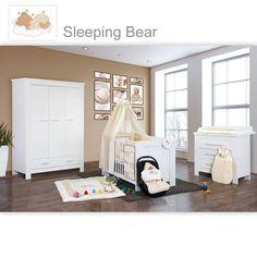 Babyzimmer Enni 19 tlg. Weiss mit 3 türigem Kl. + Textilset Sleeping Bear, Beige | eBay