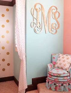 Coral, Mint, and Gold Room Design ‹ Caden LaneCaden Lane - LOVE the huge gold monogram on the mint walls! and CHAIR