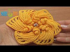 ▶ Crochet 6-Petal Flower Spirals In Center Tutorial 59 Part 1 of 2 - YouTube