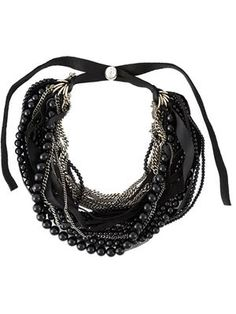 Goti chain and bead necklace Black-Silver