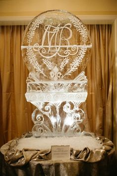 , Classic Ceremony at SMU Chapel + Ballroom Reception in Dallas , Ice Sculpture with Couple's Wedding Logo Photography: Karlisch Studio Read More: www. Wedding Vendors, Wedding Reception, Our Wedding, Wedding Cake, Wedding Stuff, Ice Sculpture Wedding, Ice Sculptures, Sculpture Ideas, Wedding Logos