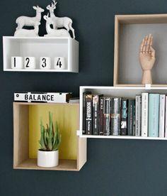 Nyanser av blått Decor, Furniture, Shelves, Floating Nightstand, Floating Shelves, Table, Home Decor, Nightstand, Inspiration
