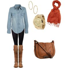 Denim shirt, brown boots, coral scarf