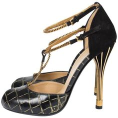 Preowned Gucci Ophélie Pumps Croco Leather - Black/gold ($676) ❤ liked on Polyvore featuring shoes, pumps, heels, black, black heeled shoes, black platform pumps, black strappy pumps, black leather shoes and ankle strap pumps
