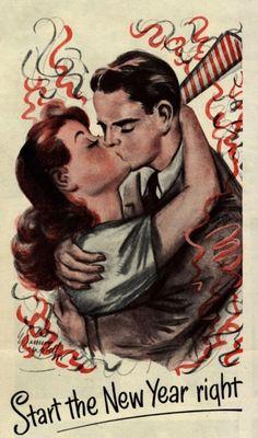 (via Vintage Ads - Bonne année de Barbasol - Joyeux Noel! Vintage Happy New Year, Vintage Holiday, Vintage Greeting Cards, Vintage Postcards, New Years Eve Images, New Years Eve Kiss, New Year's Kiss, Auld Lang Syne, Images Vintage