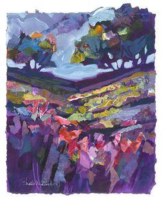 Lavender Field Trees Original Painting