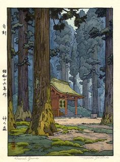 Sacred Grove by Toshi Yoshida, 1941 there's a hint of Rackham's fairy tale quality in this