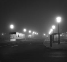 Foggy night in Malmö, Sweden