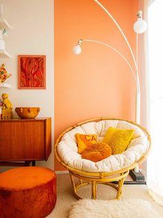27 Fresh And Beautiful Living Room Paint Color Ideas Pfirsich Wohnzimmer malen Farbideen Orange Rooms, Bedroom Orange, Orange Walls, Orange Room Decor, Orange Orange, Orange Color, Yellow Rooms, Orange Sorbet, Peach Walls