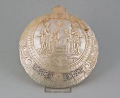Mother of Pearl Carved Shell. Depicting Our Lord's Nativity. Jerusalem late 19th century