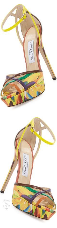 Jimmy Choo Laurita Feather-Print 135mm Sandal | LOLO❤︎