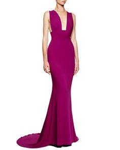 Wide-Strap Deep-Plunge Godet Gown