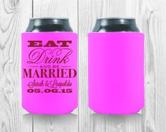 Wedding Koozies, Drink Sleeves, Party Favors, Water Bottle, Templates, Learning, Drinks, Eat, Free