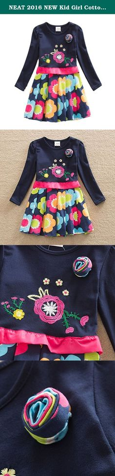 NEAT 2016 NEW Kid Girl Cotton Flower Dress Long Sleeve Navy LH5868 5-6 Years. NEAT kids clothing is dirctly sell from factory. More NEAT clothes, please search NEAT clothes or click into 'NEAT Factory Store' front page product description We focus to children health, using natural fabrics, the perfect combination of fashion and comfortable. Brand Name: NEAT Style: Fashion Material: Cotton Notice: Please choose the size we suggested,If you want kids wear longger time, you can order 1 size...