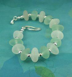 Sea Glass Bracelet Sterling Silver Aqua And by seaglassgems4you, $110.00