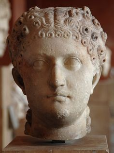 Possibly Agrippina the Younger, sister of Emperor Caligula, mother of Emperor Nero, wife of Emperor Claudius, head of Roman sculpture (marble), 1st century AD, (Musée du Louvre, Paris).