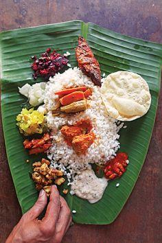 A Kerala meal on a banana leaf