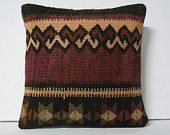tribal pillow handknit pillow decorative throw pillow accent cushion vintage pillow country pillow couch throw pillow boho maroon burgandy