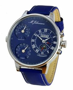 M. Johansson Automatic Temperature and Humidity Leather Blue Dial Men's Watch MoziaLSBL M. Johansson. $96.00