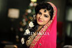 Soft makeup for beautiful Maham on her Mehndi. Makeup by Amina Raja
