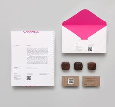 Stationery for chocolate boutique and caterer Caramela designed by Anagrama