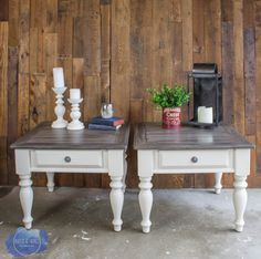 Transform end tables from and orange pine finish to barnwood beautiful! How to paint farmhouse style furniture is all right here. Tutorial by Jenni of Roots and Wings Furniture. Refinished End Tables, Redo End Tables, Painted End Tables, Farmhouse End Tables, Farmhouse Style Table, Farmhouse Decor, Furniture Projects, Furniture Makeover, Cool Furniture