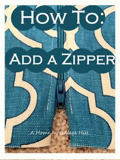 How to add a zipper to a pillow or any sewing project.