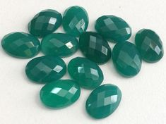 WHOLESALE 12 Pcs Green Onyx Oval Rose Cut by gemsforjewels on Etsy