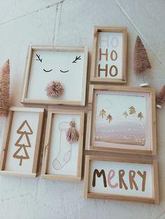 Pink Christmas Decorations, Christmas Crafts To Sell, Christmas Signs Wood, Noel Christmas, Simple Christmas, Winter Christmas, Holiday Crafts, Minimal Christmas, Natural Christmas