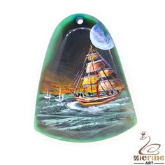 Hand Painted navigation Necklace Pendant   Natural Gemstone   ZL802483 #ZL #Pendant