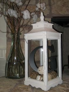 Decorative Letter in Lantern. Could change the 'insides' with the seasons.