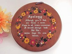 Wooden Plaque Messy House Apology Poem Vintage 1960's Enesco Chicken and Flowers Farmhouse Country Red Yellow Kitchen Decor