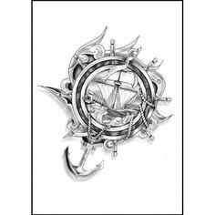 tatouage ancre et gouvernail