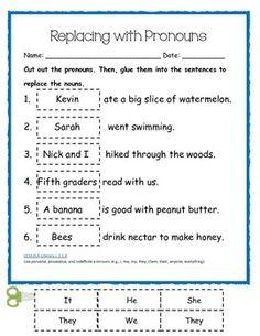 All About Pronouns First Grade Common Core Grammar