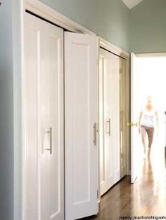 Get rid of those ugly and dated sliding doors! Accordion-style is the way to go. (:
