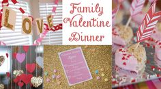 Valentine's dinner printables, menu, and decoration ideas! Make the holiday a fun family event :-)