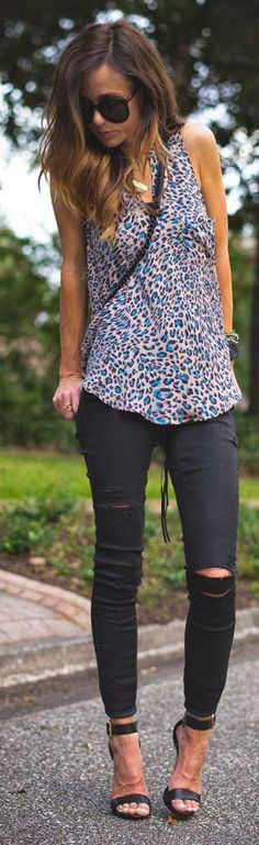 Lush Blush/blue Animal Print Split Neck Tank Top by Sequins & Things