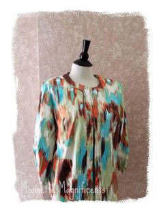 Watercolor Crop Jacket Artsy 3/4 Sleeve Blazer Ruched Blue Brown Womens Large L  #LavenderHoney #Jacket #Casual