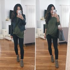 Casual Maternity Outfit Idea for Fall