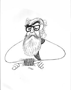 Al Hirschfeld; Self Portrait with Signature
