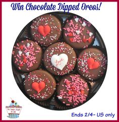 Milk Chocolate Dipped Oreo Cookies Love Design for Valentine's Day  America's Favorite cookie made even more irresistible!  Yes, we all love Oreo's at my house so I wanted to share this yummy little giveaway with you!   Guaranteed to be hand...