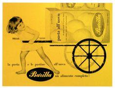 Pasta Barilla - Alimentari - Parma - Italia - la Pasta e le Pastine all' Uova Barilla un alimento completo - Bambini - Carretti - Giallo
