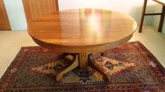 Mission-Style-Solid-Oak-Round-Dining-Table-54-Expands-to-102