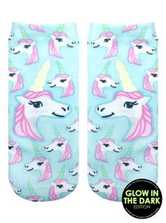 """*WE LOVE UNICORNS! *GLOW IN THE DARK *'CHARGE' THE SOCKS BY EXPOSING TO LIGHT *UNISEX *100% POLYESTER *MADE IN THE USA *ONE SIZE FITS MOST * 7.5"""" L X 3"""" W PRINTED ON ONE SIDE ONLY."""