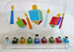 Hanukkah Menorah with Colorful Dreidels and Hanukkah Candles, Fused Glass Menorah, Jewish Wedding Glass Gift, Bar Mitzvah Gift. Hannuka Gift by Shakufdesign on Etsy https://www.etsy.com/listing/251488183/hanukkah-menorah-with-colorful-dreidels